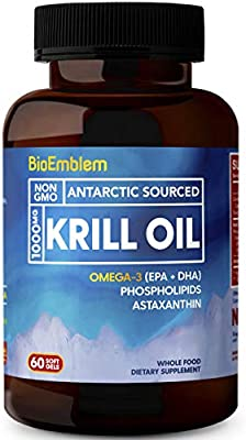 Bioemblem Antarctic Krill Oil Supplement 1000mg Omega 3 Oil With High Levels Of Epa Dha Astaxanthin And Phospholipids No Fishy Aftertaste 60 Count Non Gmo Softgels Amazon Sg Health Personal Care