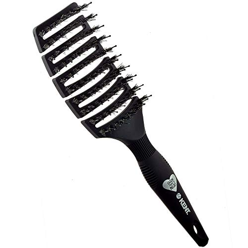 (Kent OOOH Curved and Vented, Soft Natural Boar Bristle Hair Brush - For Brushing, Grooming, Straightening, Blowdrying, and Styling Fine, Medium, Long, or Curly Hair)