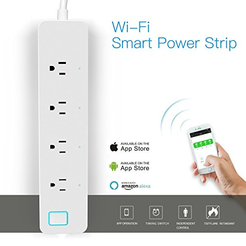LINGANZH Smart Wi-Fi Power Strip Surge Protector Extension Socket, Individually Control Timing Function with iOS Android Smartphone Tablet, with Amazon Alexa and Google Home (White) by LINGANZH (Image #1)