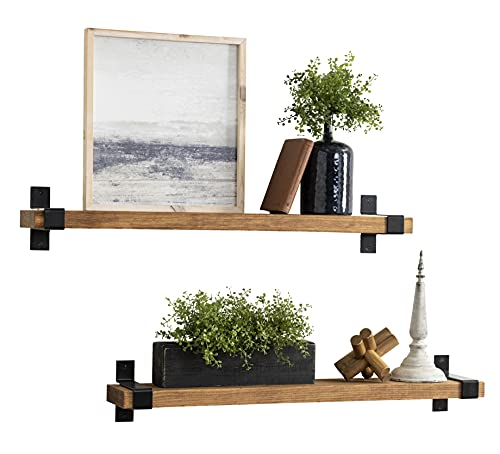 Rustic Wood Industrial Brackets Wall Mounted Floating Shelves Storage Set for Home, Office, Dorm, Bed and Bath(Walnut…