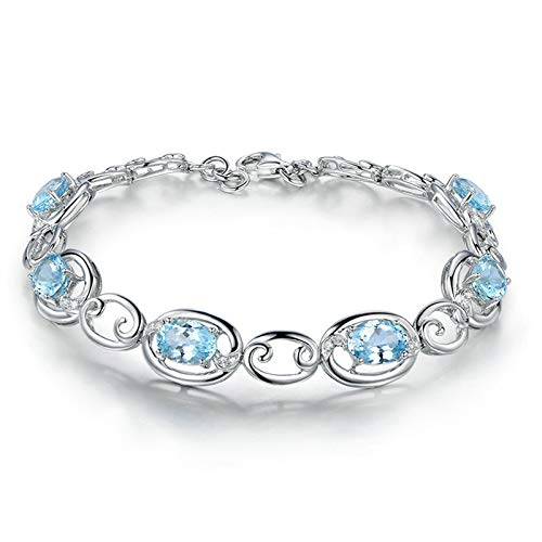 EoCot Custom Silver Plated Cloud Bracelets for Women Oval Cut Blue Topaz Charm Bracelets