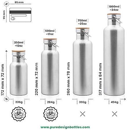 Pure Design Botella Térmica 500ml de Agua sin BPA, también 350 ml, 750 ml y 1 litro, Sin Logos, 110% Garantia de por Vida