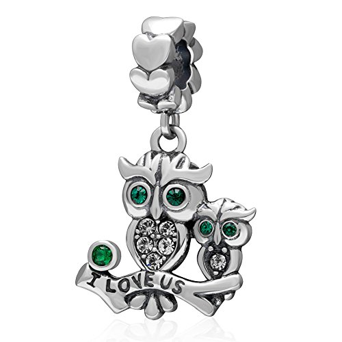 Owl Charm- 925 Sterling Silver- Animal Bird Charm Crystal Charm Wife Husband Family charm Love Marriage Anniversary Charm For Diy Bracelets (green-2)