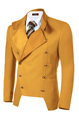 COOFANDY Men's Luxury Slim Fit Suit Blazer Double-Breasted Jacket Steampunk Coat Yellow ()