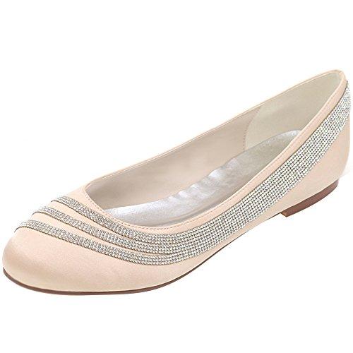 Loslandifen Femmes Élégant Arrondi Orteil Strass Chaussures De Mariée De Mariage En Satin Champagne