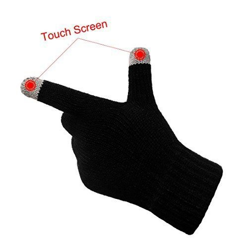 Unisex Touchscreen Warm Outdoor Winter Gloves ( Pack of 3 Black , One Size Fits All , Touch Screen and texting , Knit Magic Stretch Mittens for Men , Women and Children ) by Go Beyond (TM) (Image #5)