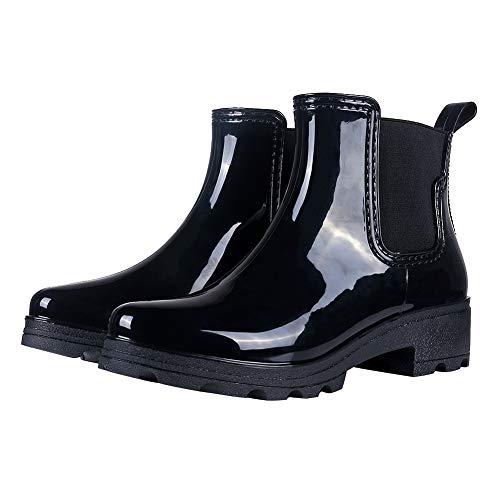 Colorxy Women's Rain Boots Platform Slip On Ankle Boots Elastic Short Chelsea Booties Rain Shoes
