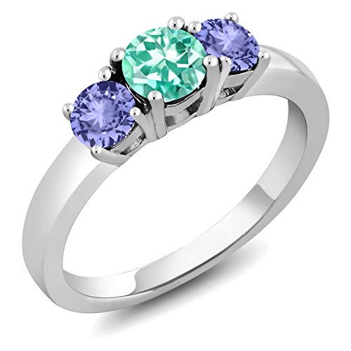 - Gem Stone King 1.10 Ct Round Blue Apatite Blue Tanzanite 925 Sterling Silver Ring (Size 5)