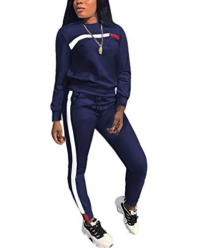 (Women's 2 Piece Outfits - Stripe Patchwork Sweatsuits Long Sleeve Pullover Sweatshirt Skinny Long Pants Tracksuit Set Navy Blue)