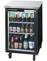 Beverage-Air BB36GF-1-B-27 36 One Glass Door Food Rated Back Bar Refrigerator 8.8 cu. ft. Capacity with Black Exterior Finish Side Mounted Compressor and 2 Stainless Steel