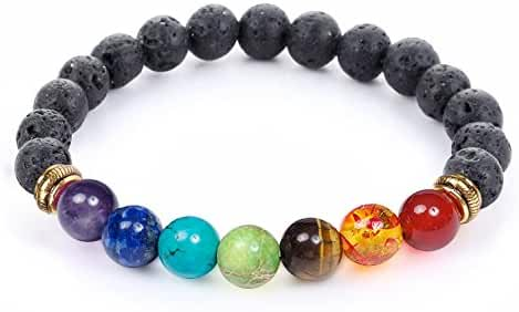 7 Chakra Healing Bracelet with Real Stones, Volcanic Lava, Mala Meditation Bracelet - Men's and Women's Religious Jewelry - Wrap, Stretch, Charm Bracelets - Protection, Energy, Healing