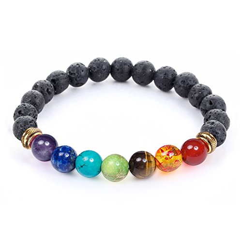7 Chakra Healing Bracelet with Real Stones, Volcanic Lava, Mala Meditation Bracelet - Men's and Women's Religious Jewelry - Wrap, Stretch, Charm Bracelets - Protection, Energy, Healing - 8 inches