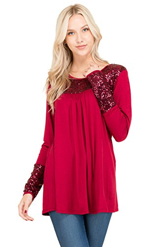 SUNNMOON Colorblock Solid Knit Sequin Detail Tunic Top (Large, Burgundy)