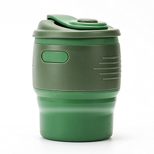 Collapsible Travel Mug, 350ML Reusable Travel Cup with Leak-proof Lid, Foldable Tea Cup, BPA Free Food-grade Silicone, 12 oz, for Traveling, Camping, Hiking, Reading, Outdoors (Green)