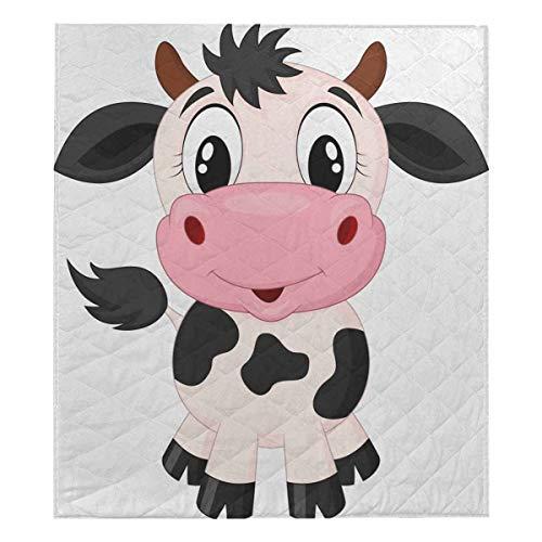 (InterestPrint Cute Cow Cartoon Cotton Quilt Baby Blanke Quilt Twin XL Size 70x80)