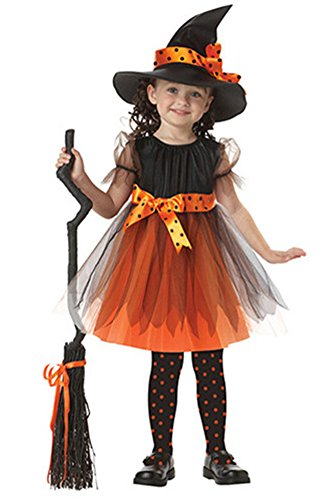 KINDOYO Baby Girls Witch Cosplay Costume Halloween Outfits Girls Role Play Fancy Dress for Kids Yellow & Purple -
