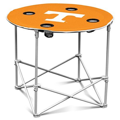 Logo Brands Tennessee Volunteers Collapsible Round Table with 4 Cup Holders and Carry Bag by Logo Brands