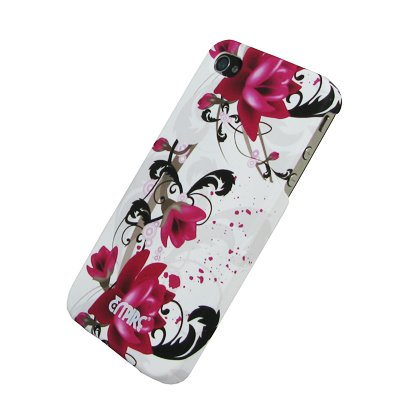 EMPIRE White with Purple Flowers Stealth Rubberized Design Hard Case Cover for Verizon & AT&T Apple iPhone 4 / iPhone 4S