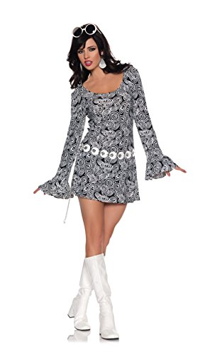 Women's Retro Mod GoGo Costume - Fab, Black/White, Medium