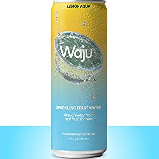 Waju Sparkling Organic Fruit Water - Lemon Aqua - Actual from Within Real Fruit - No Added Sugar - 12 Oz 12 Pack (Only 5 Cals per Fruit Water Can)