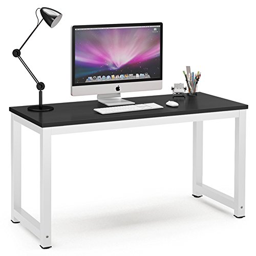 "Computer Desk, 55"" Large Office Desk Computer Table Study Writing Desk for Home Office, Black + White Leg"