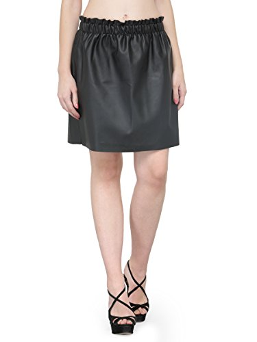 NATTY INDIA Black Solid Leather Women's Skirt