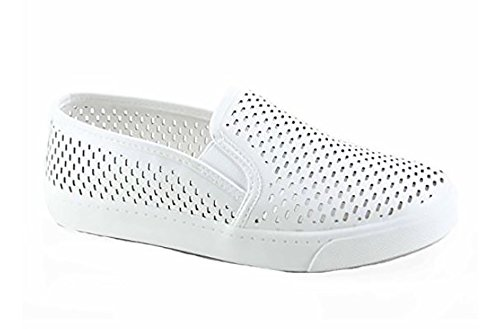 MVE Shoes Women's Perforated Slip-On Fashion Sneaker, White PU Size 7