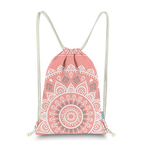 Miomao Drawstring Backpack Gym Sack Pack Mandala Style String Bag With Pocket Canvas Sinch Sack Sport Cinch Pack Christmas Gift Bags Beach Rucksack 13 X 18 Inches Coral - Coral Drawstring