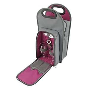 Metro 2 Bottle Wine Tote Bag  Picnic Set - Truetap Corkscrew, Bottle Stopper, Acrylic Wine Glasses, Napkins