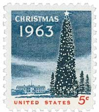 1963 5c Christmas Tree & White House U. S. Postage Stamp Plate Block of 4 - #1240 ()