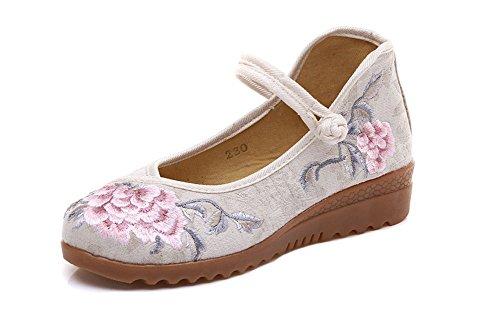 AvaCostume Womens Casual Elegant Jacquard Plain Embroidery Wedge Heel Shoes Beige