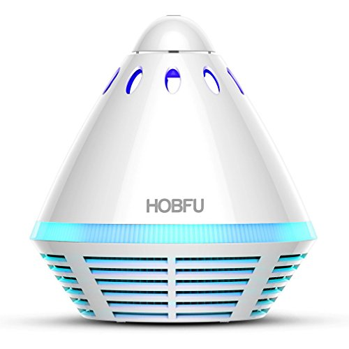 Air Purifier with HEPA Filter,HOBFU Odor Allergies Eliminator for Smokers,Pollen,Dust,Mold,Pets,Germs,Tower Shape Captures Portable Desktop Air Cleaners with Light Nights for Office,Home,Car (White) by HOBFU