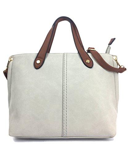 Mia Grey Grab Pebble Size Bag Italian for Medium Shoulder Styled Beautiful Handbags Ladies 1wg6p1