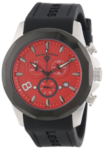 Swiss Legend Men's 10042-05-BB Monte Carlo Chronograph Red Textured Dial Black Silicone Watch