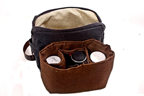 Handmade Army Green Canvas and Brown Leather Camera Insert Backpack, Unisex SLR Camera Bag