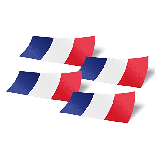 France 4 Pack of 4 inch Wide Country Flag Stickers Decal for Window Laptop Computer Vinyl Car Bumper French