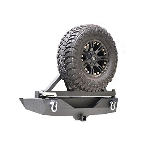 DV8 Off-Road Jeep JK Wrangler Rear Bumper with Tire Carrier and D Rings