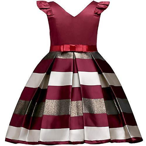 Girls Dress Backless Floral Flare Sleeve Bow Kids Dresses for Girls Princess Dress,WineRed,7]()