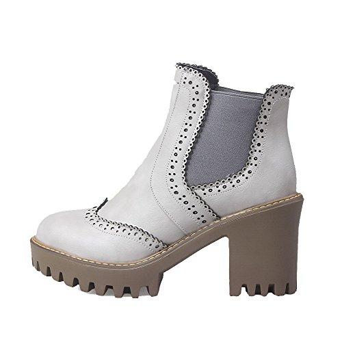 AllhqFashion Damen Ziehen auf Rund Zehe Hoher Absatz PU Rein Stiefel Grau
