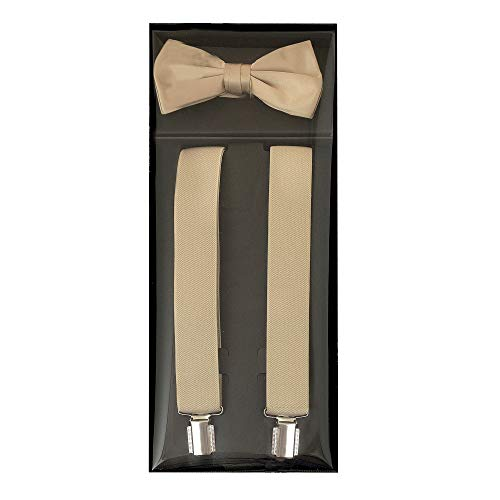 Luther Pike Formal Dress Mens Prom or Dance Bow Tie & Tuxedo Khaki Tan Brown Suspenders For Men Gift Box