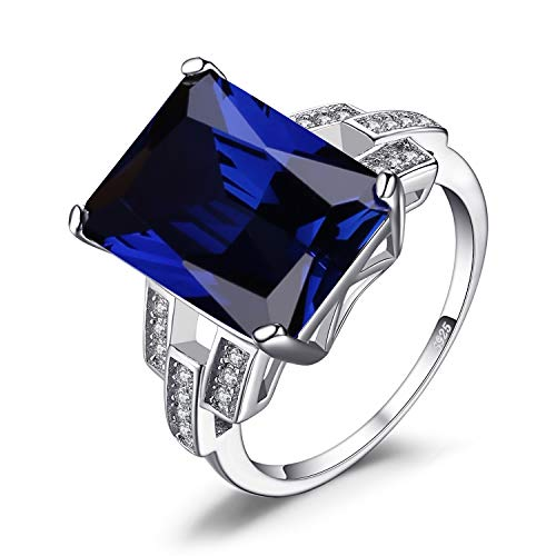 Jewelrypalace Luxury Emerald Cut 9.6ct Created Blue Sapphire Cocktail Ring Genuine 925 Sterling Silver Size 7
