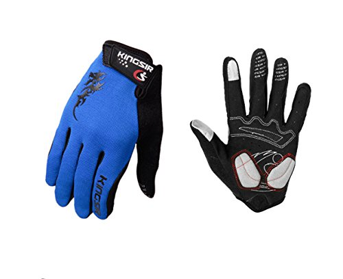 Elite Girls Glove (Female Male Elite Professional Cycling Bikes Black Mountaineering Outdoor Research Lifting Weights Home Gym Bodybuilding Motorbike Riding Dumbbell Full Finger Touch Screen Padded Glove (Blue, XL))