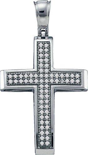 10 k Or Blanc Pendentif Croix Diamant 0,20 Dwt or de haute qualité Or 9 Carats JewelryWeb