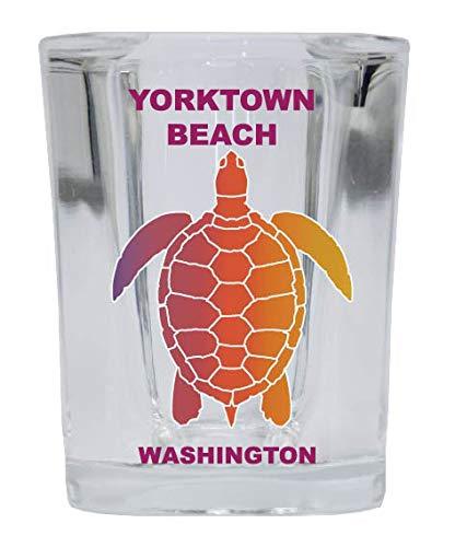 YORKTOWN BEACH Washington Square Shot Glass Rainbow Turtle Design