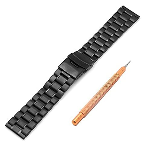 Ritche 22mm Metal Stainless Steel Bracelet Watch Band Strap Solid Links Color Black (Pebble Steel Black Watchband)
