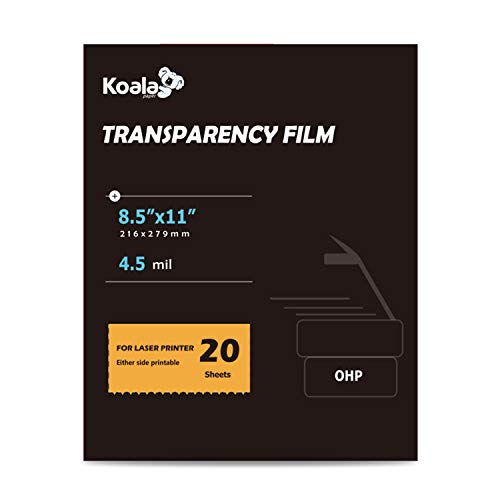 Koala OHP Film Overhead Project Film 8.5x11 Inches Transparency Printing Film for Laser Printer