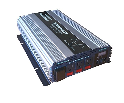 VertaMax PURE SINE WAVE 3000 Watt (6000W Surge) 12V Power Inverter DC to 115 AC Car, Solar, Off-Grid, RV, Back Up Power ()