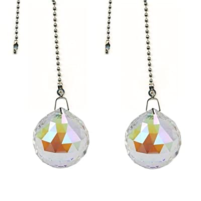 Magnificent crystal 30mm Aurora Borealis Crystal Ball Prism 2 Pieces Dazzling Crystal Ceiling FAN Pull Chain