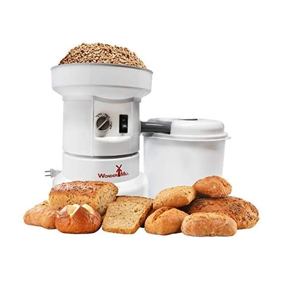 Powerful Electric Grain Mill Grinder for Home and Professional Use - High Speed Electric Flour Mill Grinder for Healthy… 2 FASTER THAN THE COMPETITORS IN ITS PRICE RANGE - This grain mill for flour is powered by a 1,250-watt LG Electronics motor that gives both capacity and longevity; an electric flour mill grinder that's sturdy, fast-grinding and built to last MADE TOUGH; HEAVY DUTY - An electric grain grinder that grinds over 100 lbs of flour in 1 hour without overloading; Unlike other flour mills, this flour grinder mill is also an electric wheat grinder, corn grinder, rice grinder or brewery grinder. HIGHLY CERTIFIED; LIFETIME WARRANTY - Wondermill flour grinder mill complies with the most demanding quality and safety standards - UL (USA), CSA (Canada), and CE (the European Union). A limited lifetime warranty is included with each Wondermill purchased