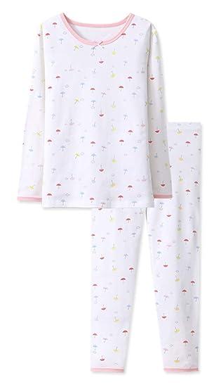 3-7yrs Little Girls Boys Thermal Underwear Long John Set Thermal Breathing Pajama Crewneck Top and Bottom 2PC Set,